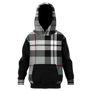 Allno Black and White Plaid Kids Hoodie