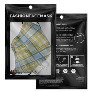 Allno Yellow and Blue Plaid Face Mask