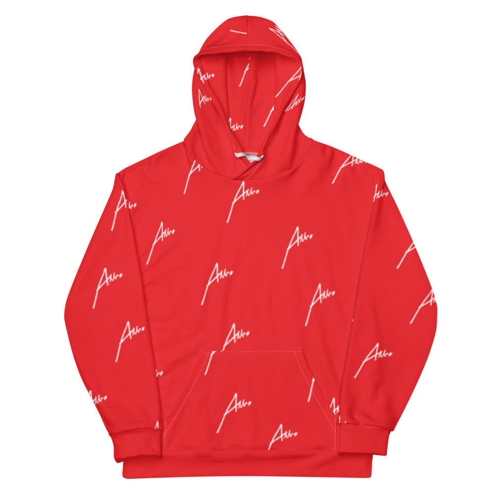 Allno All-Over Signature Stitch Unisex Hoodie - Red