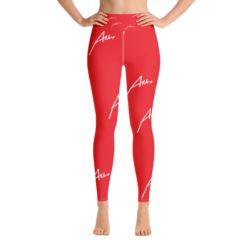 Allno All-Over Signature Stitch Leggings - Red