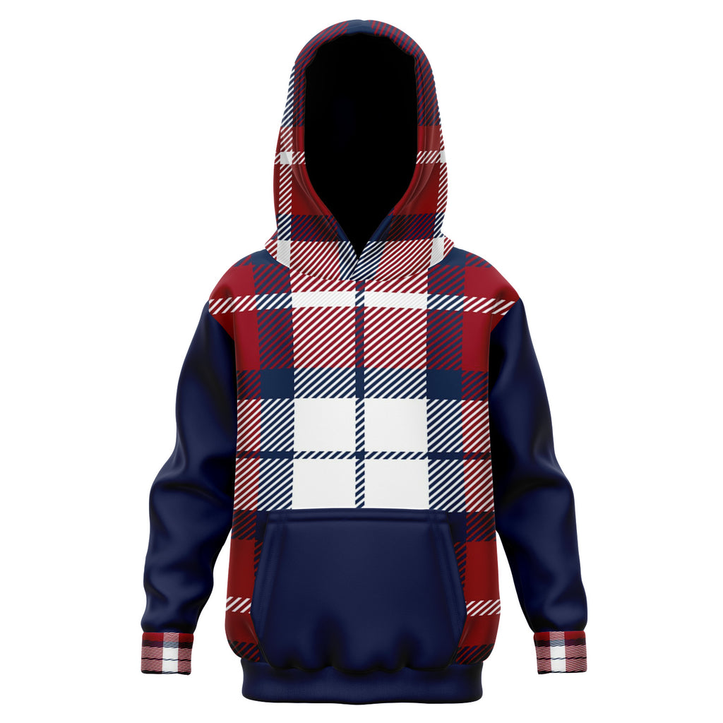 Allno Red White and Blue Plaid Kids Hoodie