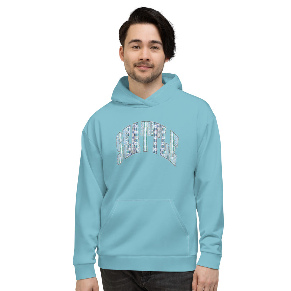 Allno Seattle Patterned Hoodie - Cali Blue