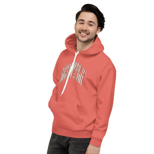 Allno Seattle Patterned Hoodie - Hot Coral