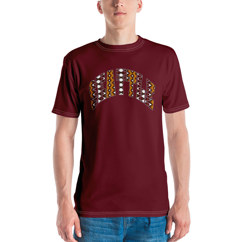 Allno Seattle Patterned Men's Tee - Maroon