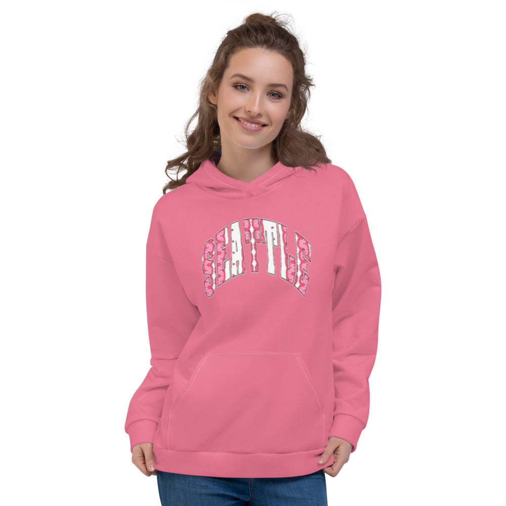 Allno Seattle Patterned Hoodie - Azalea