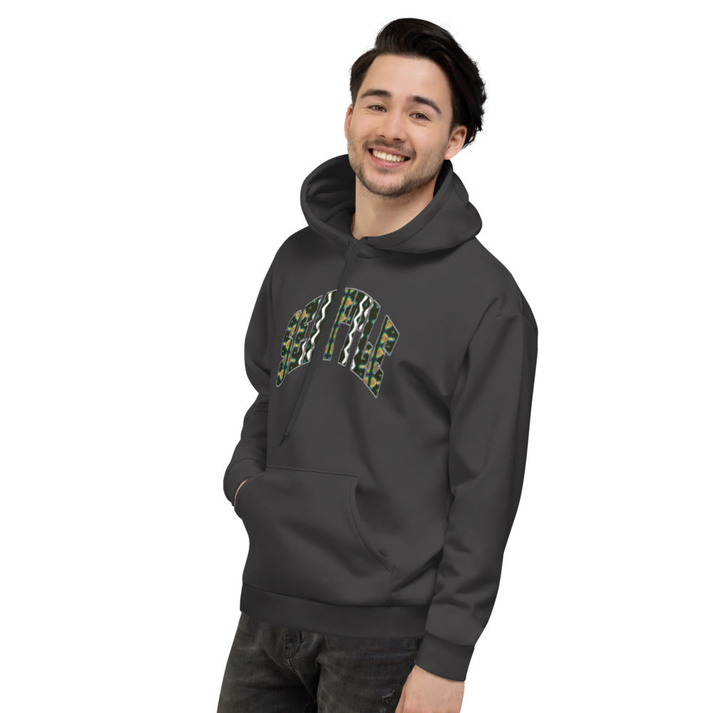 Allno Seattle Patterned Hoodie - Charcoal