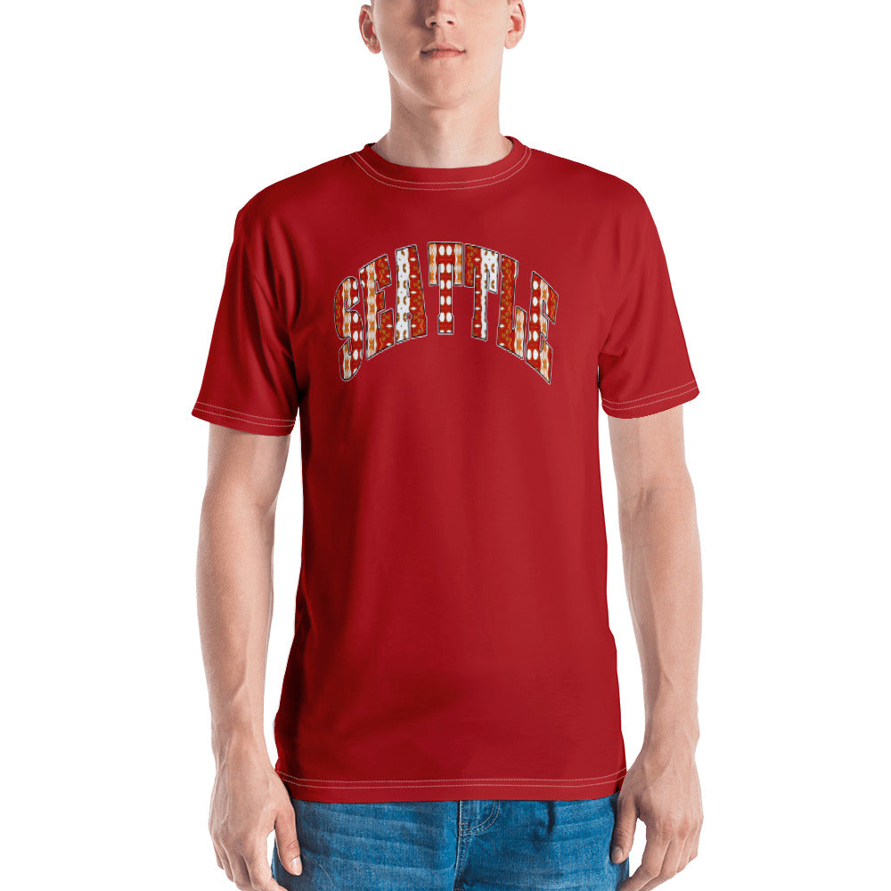 Allno Seattle Patterned Men's Tee - Red
