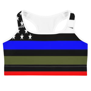 Allno Stars and Stripes Respect Military Courage Sports Bra