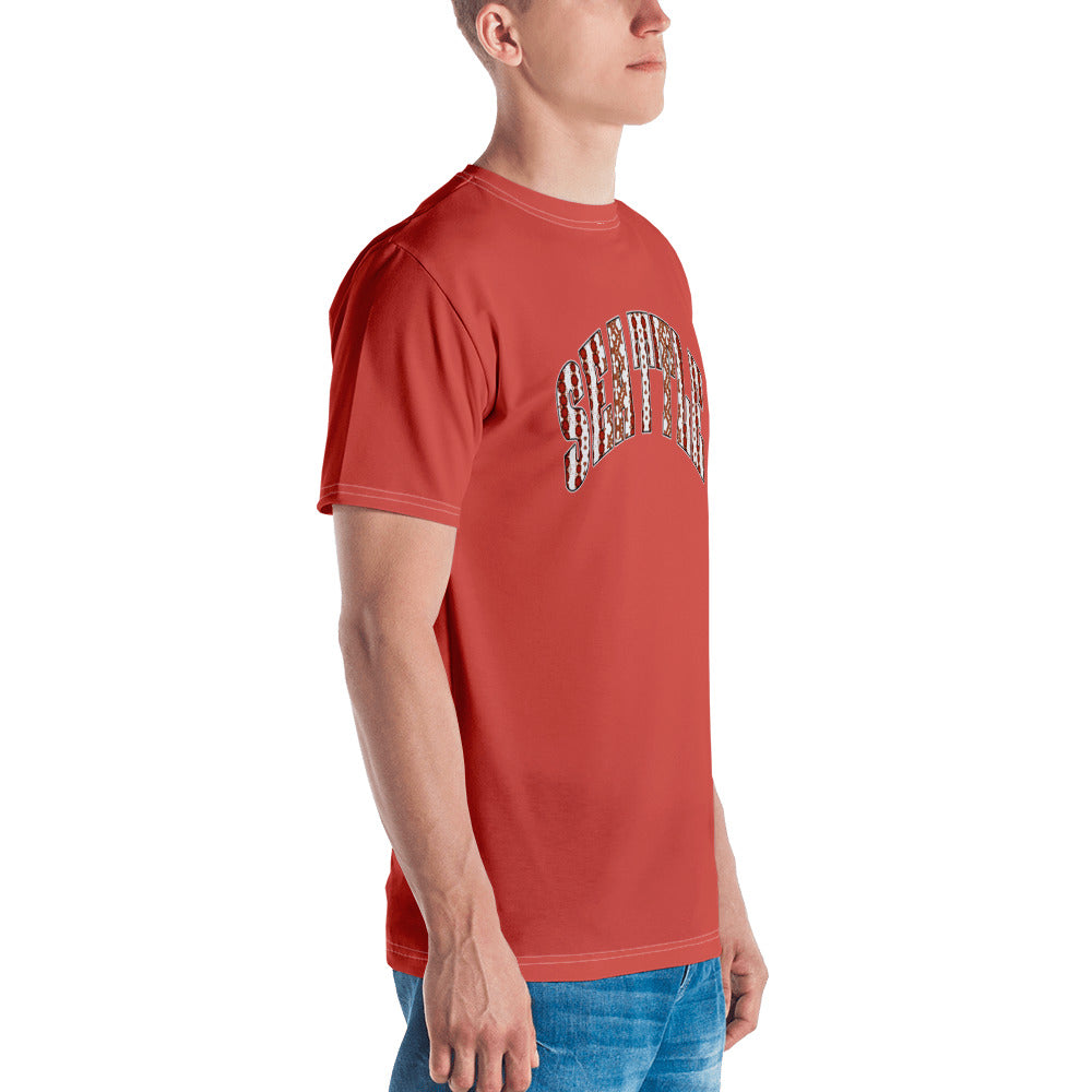Allno Seattle Patterned Men's Tee - Hot Coral