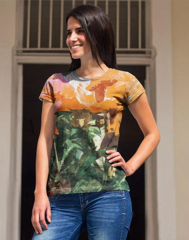 Orange Flower Classic Sublimation Women's T-Shirt-PVRP Shop