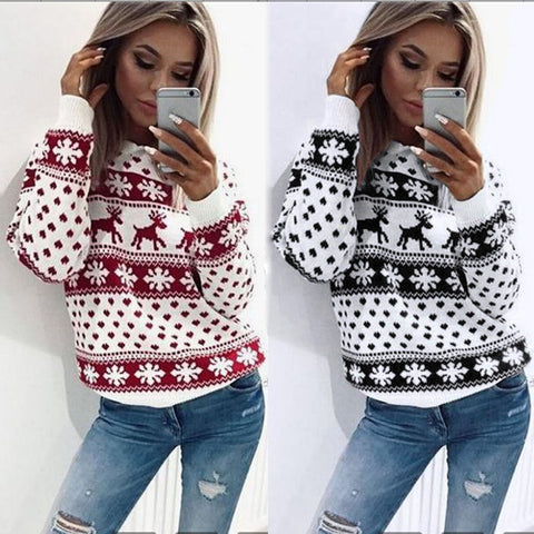 Women Christmas Floral Print Long Sleeve Blouse Top-PVRP Shop