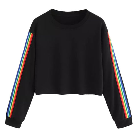 Women Rainbow Patchwork O Neck Sweatshirt - PVRP Shop