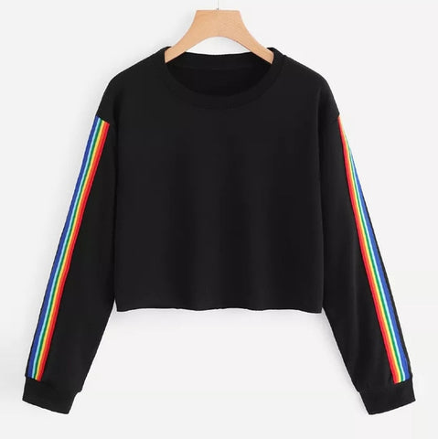 Women Rainbow Patchwork O Neck Sweatshirt-PVRP Shop