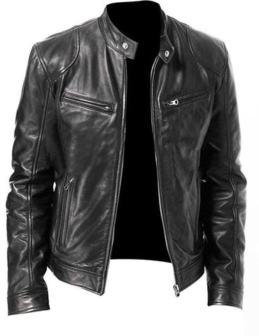 Men Black Leather Jacket-PVRP Shop
