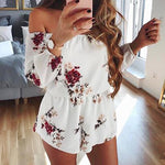 2019 Casual Women Off Shoulder Belt Backless Sexy Rompers Print Floral Jumpsuit - PVRP Shop