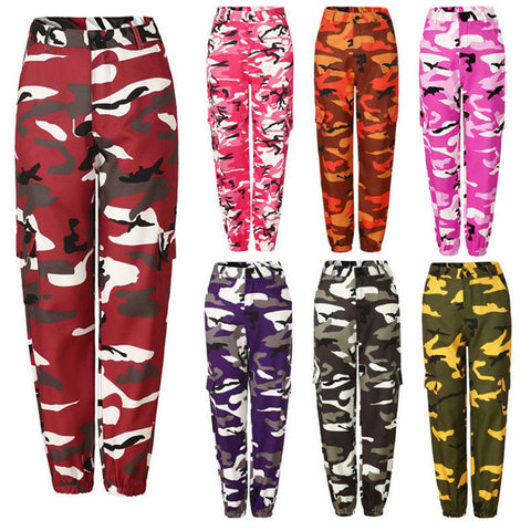 Women Camo Cargo High Waist Trousers-PVRP Shop