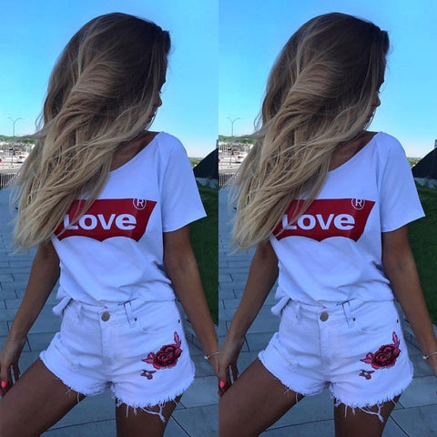 spring shirt Hot LOVE printed short-sleeved women's Tshirt-PVRP Shop