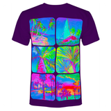 Mens Shirt With Palms Glow In Ultraviolet Fluorescent Neo - PVRP Shop