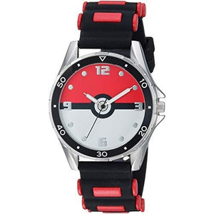 Pokemon Stainless Steel Quartz Watch with Rubber Strap, Black, 17 (Model: POK9007) : My Hero Booth