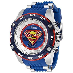 Invicta Men's DC Comics SUPERMAN Stainless Steel Quartz Watch with Silicone Strap, Blue, 26 (Model: 29121) - My Hero Booth