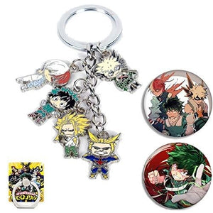 My Hero Academia Keychain Cute Anime Cosplay Deku Todoroki Alloy Key Ring, 2 My Hero Academia Button Pin and 1 Phone Ring Holder Included : My Hero Booth
