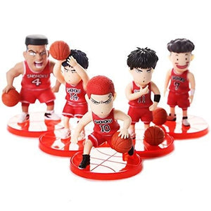 5 Sets Slam Dunk Actions Figures Sakuragi Flower Road Q Version Doll Figure Creative Decorations for Car Windows Desktop Decoration Gift PVC - 2.76 Inch,A | My Hero Booth