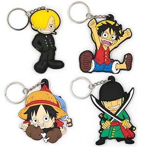 One Piece  4Pcs Novelty Pirates Cartoon Key chain,sof Silica gel Cute Key ring for Girl Boy : My Hero Booth