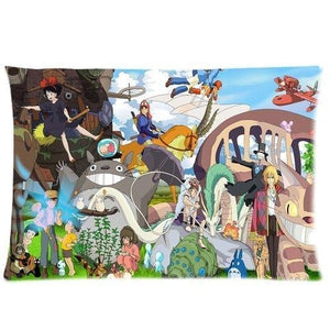 Studio Ghibli Character Theme Custom Zippered Cover Pillow Cases Standard Size 20x30 Inches (Twin sides) | My Hero Booth