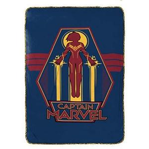 Captain Marvel Taking Off Blanket, Blue | My Hero Booth