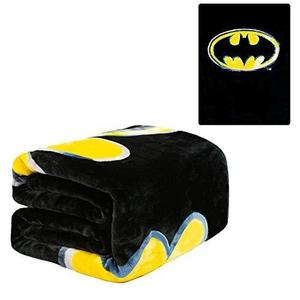DC Comics Batman Emblem Twin 60'' x 80'' Blanket - Batman Logo - Black with Yellow Logo - Officially Licensed by Warner Bros - Super Soft & Thick - 100% Polyester | My Hero Booth