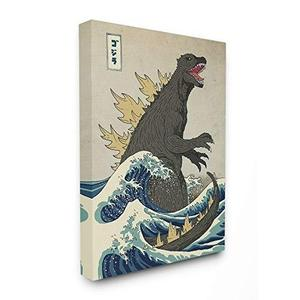 Godzilla in The Waves Eastern Poster Style Illustration Canvas Wall Art, 16 x 20, Design by Artist Michael Buxton : My Hero Booth