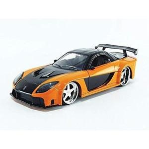 Han's Mazda RX-7 Orange and Black Fast & Furious Movie 1/24 Diecast Model Car by Jada 30732-My Hero Booth