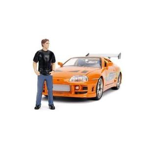 "JADA Toys Fast & Furious Brian & Toyota Supra, 1: 24 Scale Orange Die-Cast Car with 2.75"" Die-Cast Figure 