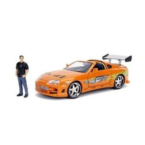 JADA Toys Fast & Furious Brian & Toyota Supra, 1: 24 Scale Orange Die-Cast Car with 2.75