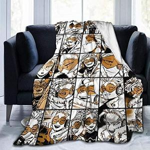 My Hero Academia Collage Anime Hawks - Manga Fleece Throw Blanket, Fuzzy Warm Throws for Winter Bedding, Couch and Plush House Warming Decor Gift Idea (L 80