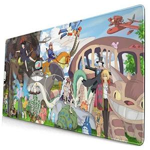 Studio Ghibli Anime Movie Long 15.8x29.5 in Non-Slip Large Mouse Pad Desk Mat Rubber Stitched Edges : My Hero Booth