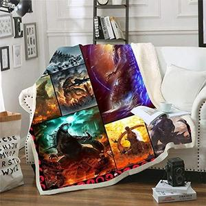 Ultra Soft 3D Godzilla Blanket Quilt Microfiber Plush Sherpa Throw Blankets for Bed Godzilla Printed Quilt Blankets for Kids and Adults Fleece Blanket Bedding (Style3, 130cm x 150cm(51'' x 59'')) | My Hero Booth