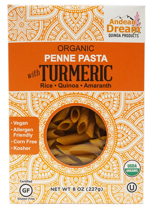 Andean Dream Organic Penne Pasta with Turmeric (8 Pack)