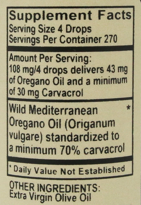 Vitality Works Oregano Oil Herbal Supplement 1 fl oz (30ml)