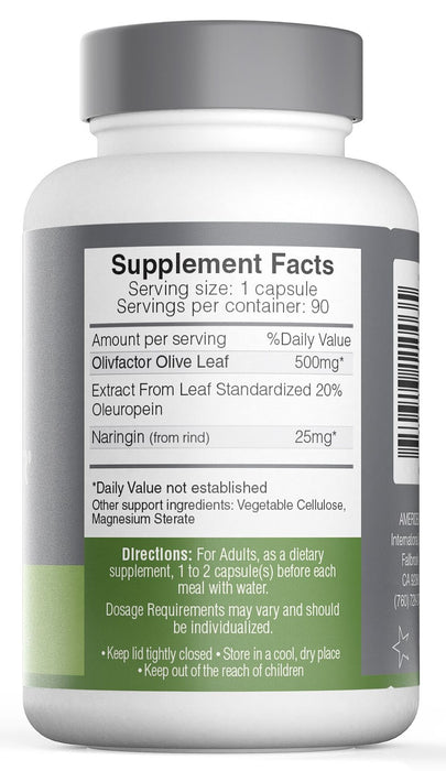 Ameriden OlivFactor - The Original Olive Leaf Extract - 90 Capsules