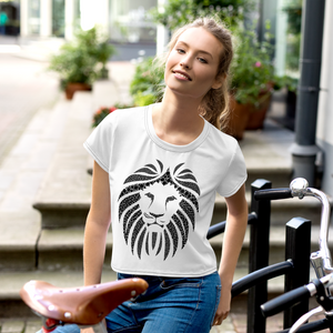 Women White Crop Tee Lion Black