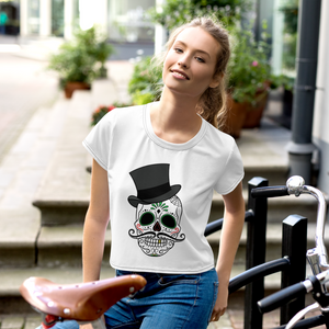 Women White Crop Tee Skull