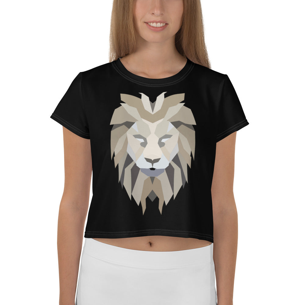 Women Black Crop Tee Lion White