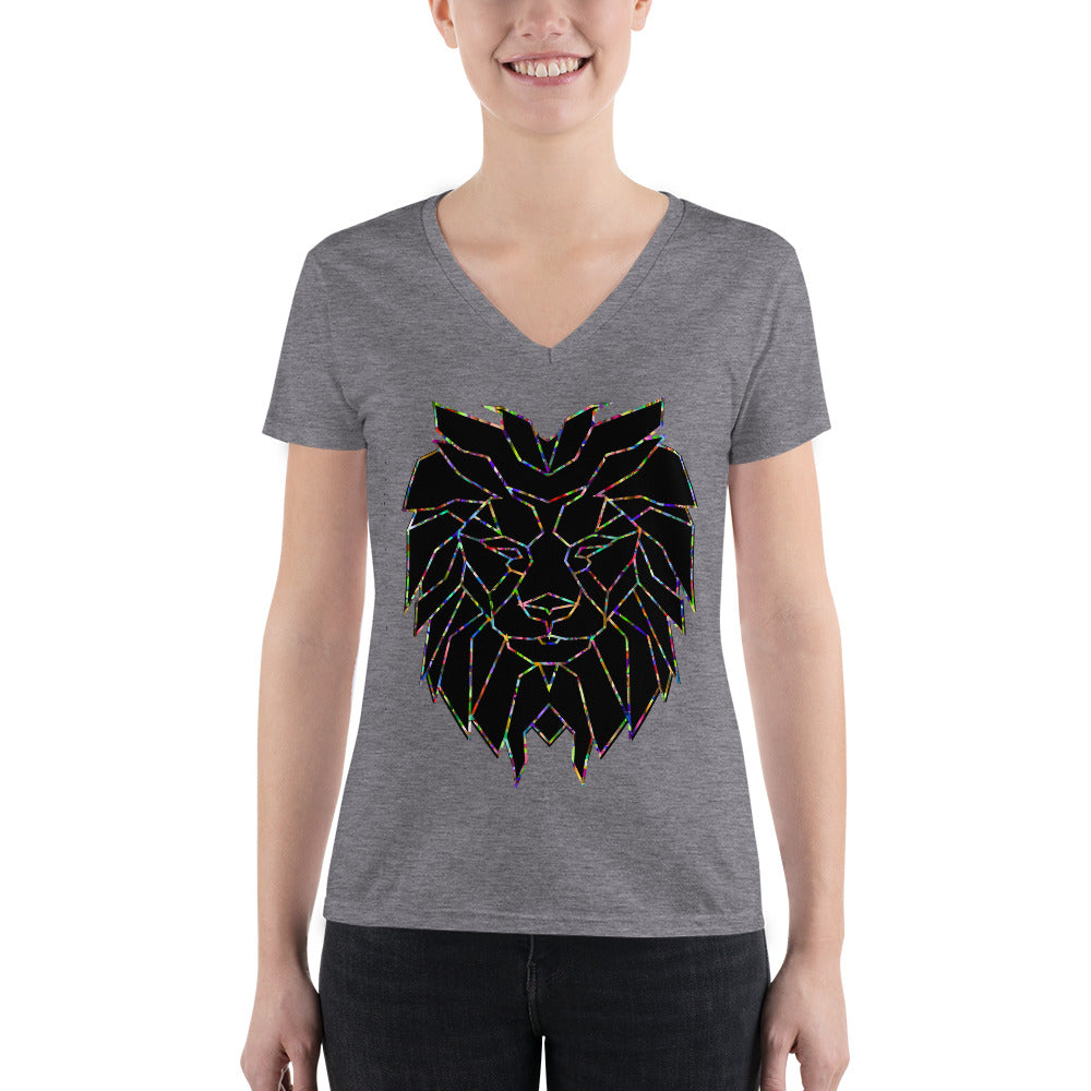 Women's Lion Stars Fashion Deep V-neck Tee Shirt