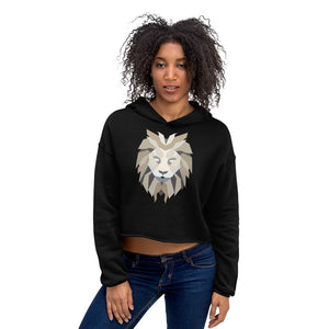Women Lion White Crop Hoodie (Eco)