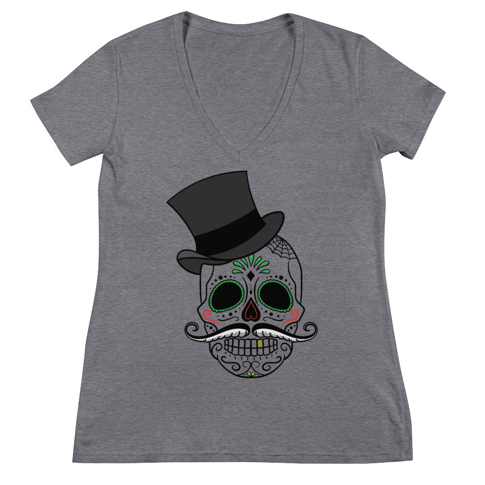 Women's Skull Fashion Deep V-neck Tee Shirt