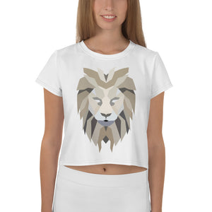 Women White Crop Tee Lion White