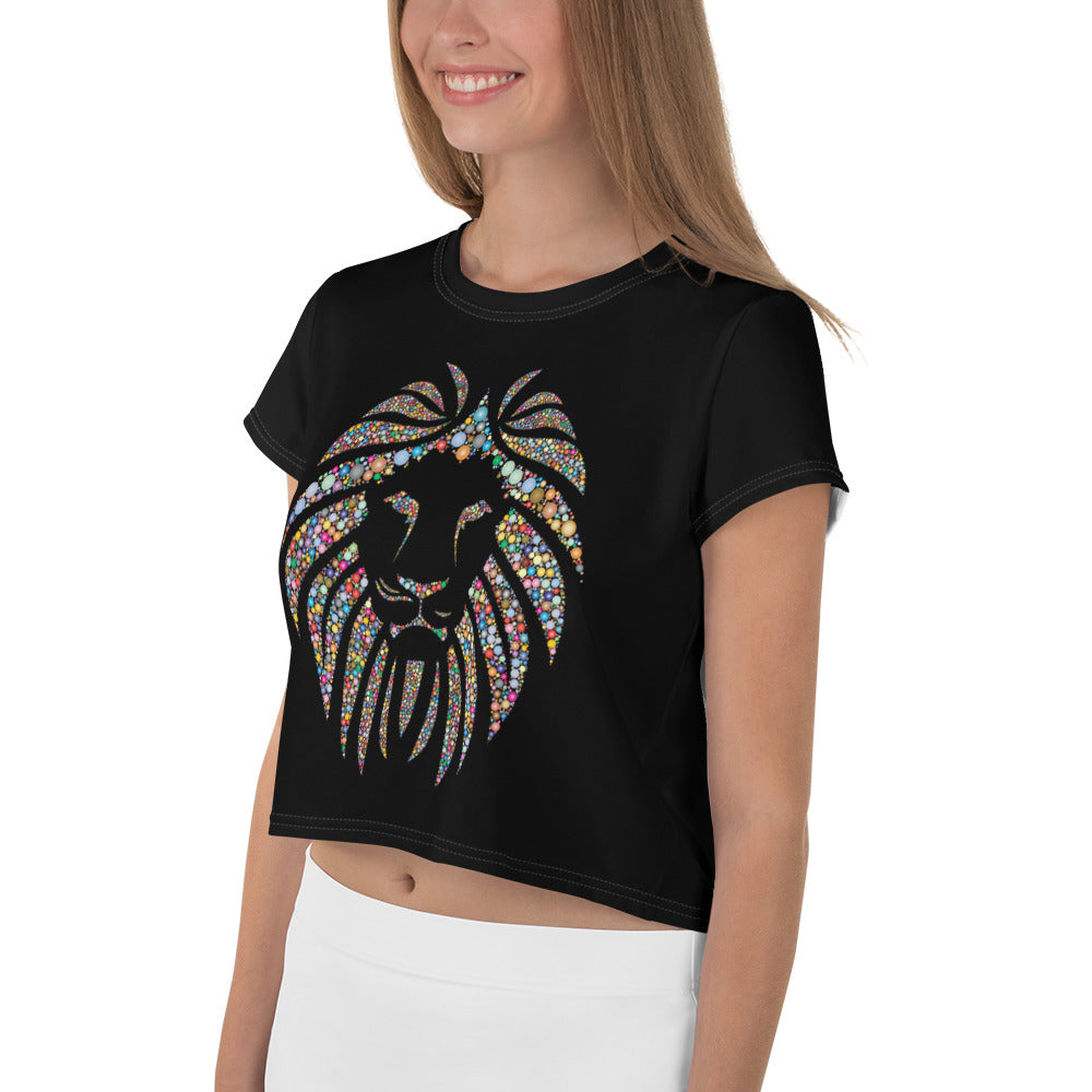 Women Black Crop Tee Lion Stone