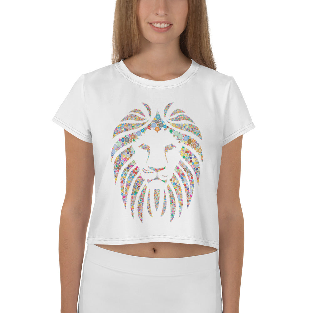 Women White Crop Tee Lion Stone