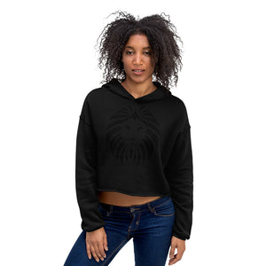 Women Lion Black Crop Hoodie (Eco)